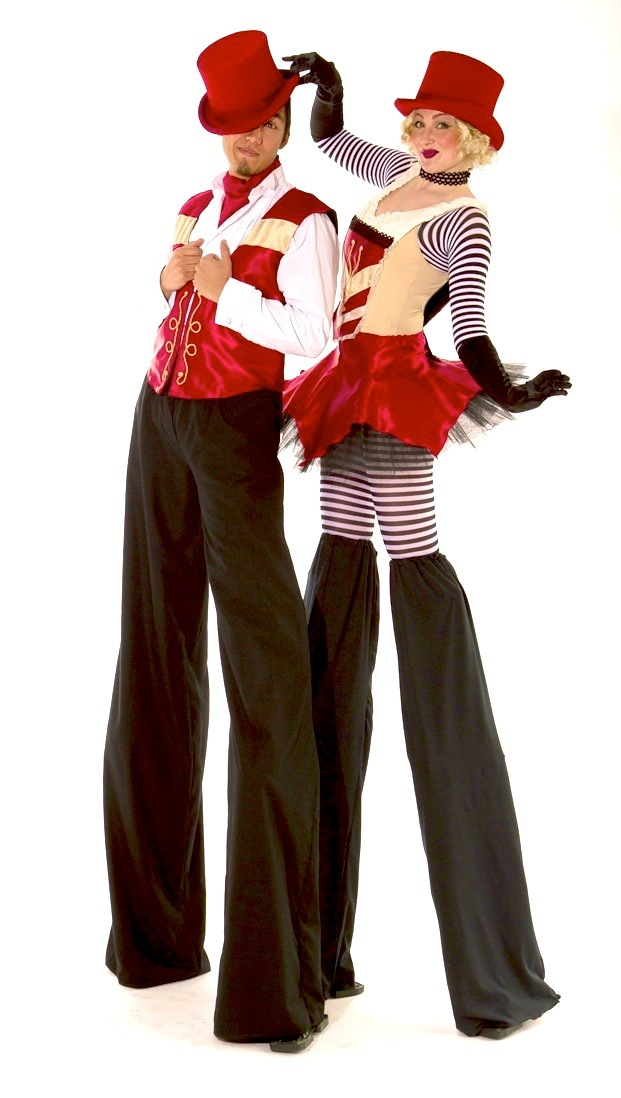 Vaudeville circus stilt characters