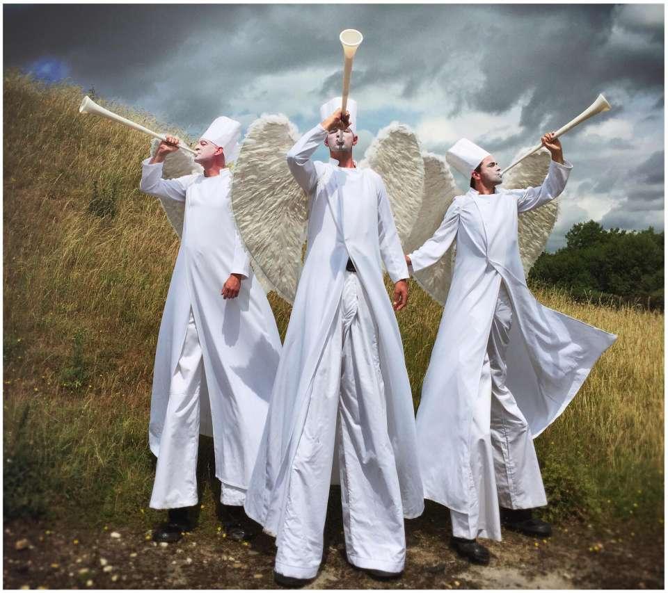 Angels on high stilts